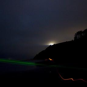 Beach Lightshow by Jamie Newton - Landscapes Travel ( washington, lighthouse, night, light, coast )