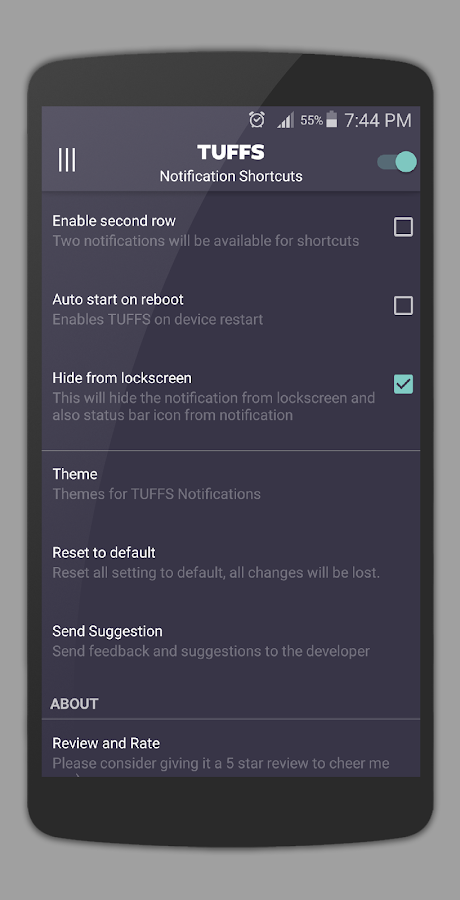 TUFFS Notification Shortcuts- screenshot