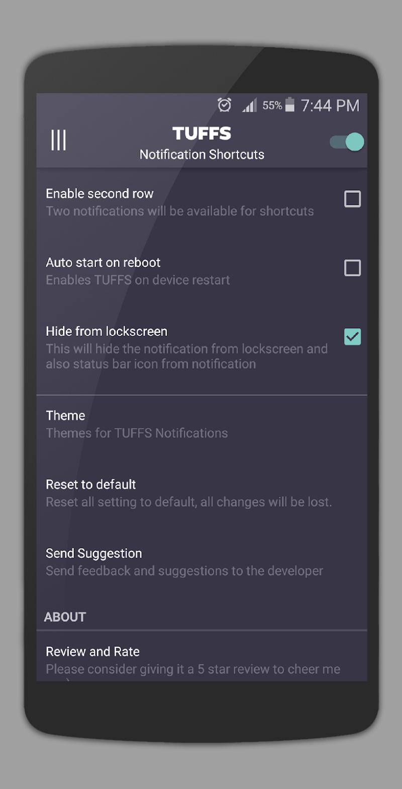 TUFFS Notification Shortcuts Screenshot 7