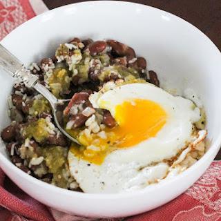 Cheesy Salsa Verde Rice & Beans Breakfast Bowl.