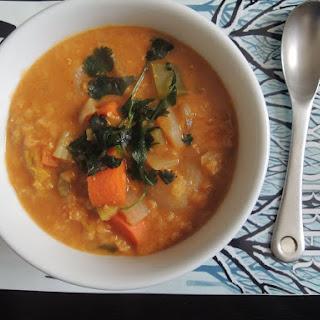 Crockpot Coconut Curry Lentil Soup.