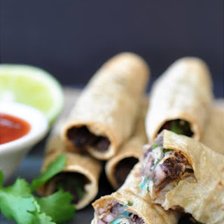 Homemade Black Bean & Spinach Taquitos.