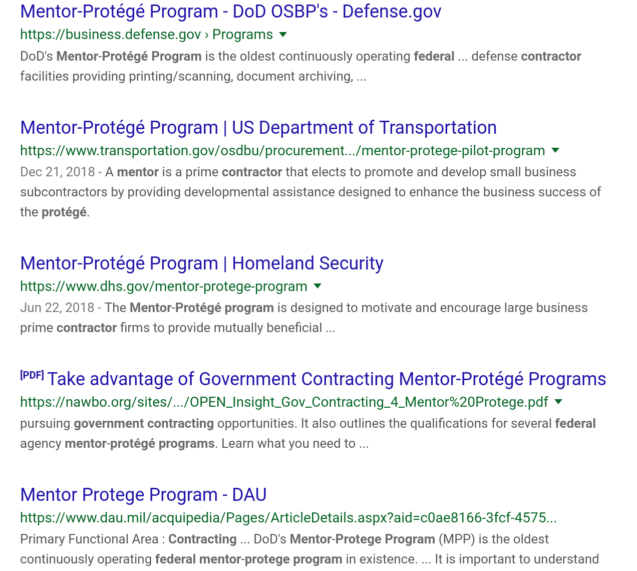 search-results-federal-contracting mentor-protege-program