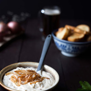Parmesan Beer Cheese Dip with Crispy Shallot.