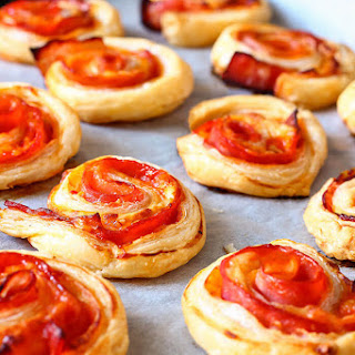 Puff Pastry Bacon Pinwheels with Cheddar.