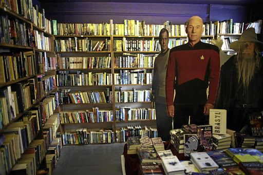 DO YOU READ ME? Cardboard cutouts of 'Star Trek' actors in a bookshop during the annual Hay Festival in Hay-on-Wye. The small Welsh town is famous for its books and the festival attracts some of the best authors, poets and artists.
