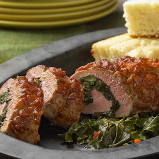 BBQ Roasted Pork Tenderloin Stuffed with Braised Collard Greens & Caramelized Onions Recipe