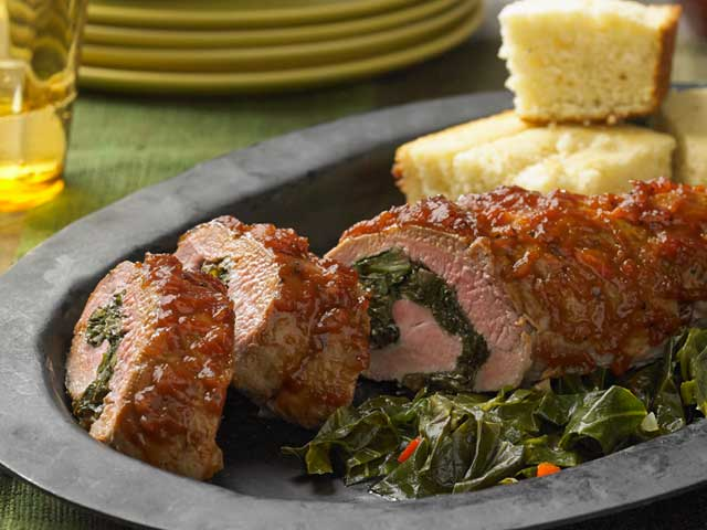 Bbq Roasted Pork Tenderloin Stuffed With Braised Collard Greens & Caramelized Onions