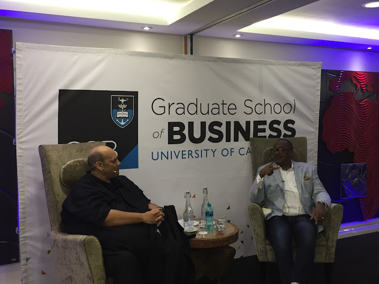 Mathew Knowles, father of Beyoncé and Solange Knowles, discussing his new book 'The Emancipation of Slaves Through Music' at the University of Cape Town's Graduate School of Business with Alan Gray. Picture: NABEEL ALLIE