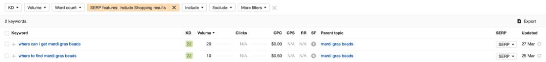 shopping results serp rich snippet for buying mardi gras beads