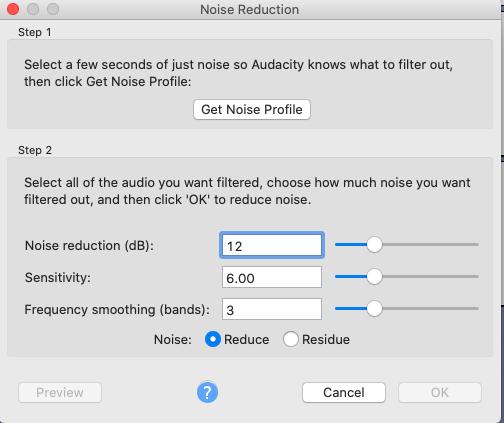 noise reduction menu