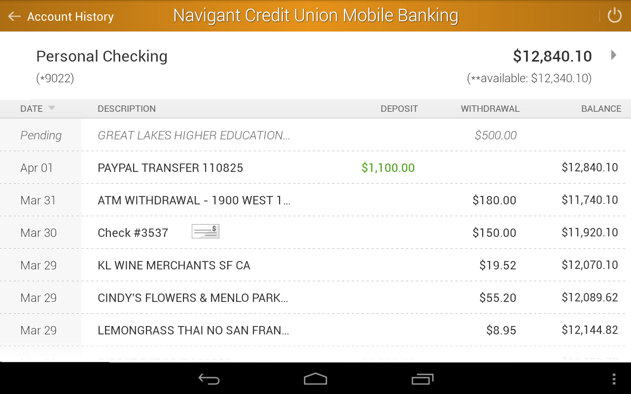 Navigant Credit Union Mobile- screenshot