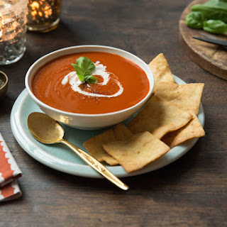 Tomato soup with Stacy's® Toasted Cheddar Pita Chips