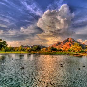 Eruption by Stephen Botel - Landscapes Cloud Formations ( clouds, mountains, hdr, park, arizona, ducks, trees, lake, landscape )