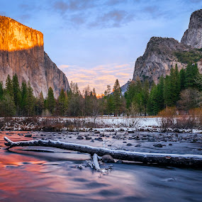 Yosemite Valley View Sunset by Jeff Fahrenbruch - Landscapes Mountains & Hills ( national park, yosemite national park merced river, yosemite np valley view, california, yosemite np el capitan, yosemite national park )