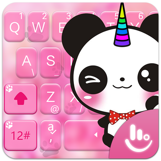 Lovely Cuteness Pink Unicorn Panda Keyboard Theme