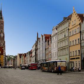 Landshut by Oleksii Liebiediev - City,  Street & Park  Street Scenes ( color houses, landshut, bavaria, street, germany,  )
