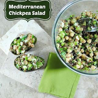 Mediterranean Garbanzo Bean Salad with Quinoa and Avocado