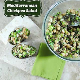 Mediterranean Garbanzo Bean Salad with Quinoa and Avocado.