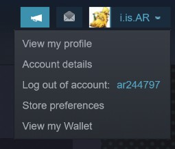 The small drop-down menu that appears when you click on the Profile settings