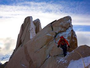 Photo: David on the ridge traverse after having climbed the Supercanaleta on Fitz Roy