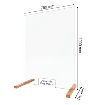 Hygiene- und Hustenschutz, 5 mm Sicherheitsglas (ESG), transparent, 1000 x 750 mm