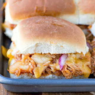 Baked Hawaiian Barbecue Chicken Sandwiches.