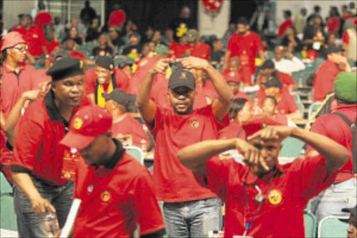 AGAINST THE GRAIN: Cosatu delegates signal their desire for a change of leadership at the ANC elective conference to be held in Mangaung. PHOTO: MOHAU MOFOKENG