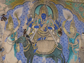 Photo: Melsithamur Jain temple Ceiling Painting - Jain Goddess Jwalamalini Devi