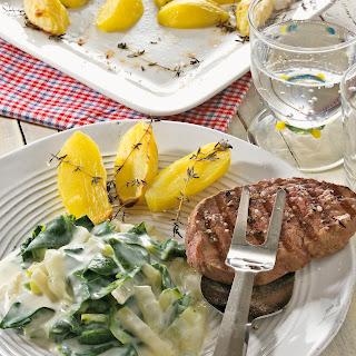 Mangold in Käsesauce mit Rinderfilet