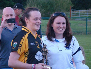 Photo: Nadine Hackett receives the Player of the Match Award, County Intermediate Final 2012