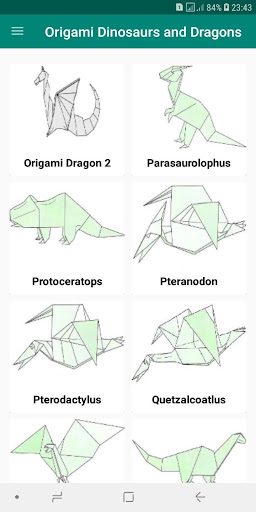 Origami Dinosaurs, a list of online, origami-dinosaur diagrams ... | 512x256