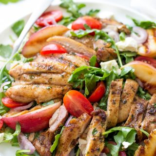 Portuguese Salad With Grilled Chicken And Peaches.
