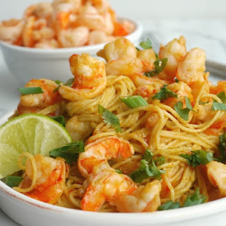 Spicy Thai Shrimp Pasta.