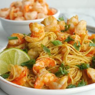 Spicy Thai Shrimp Pasta.