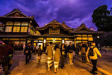 Dogo Onsen Honkan Evening view1