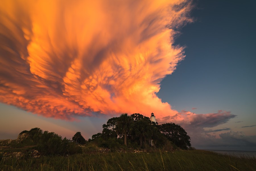 Skyfire at the Lighthouse by John Smith - Landscapes Cloud Formations ( florida, beach, sunset, lighthosue, saint marks, clouds )