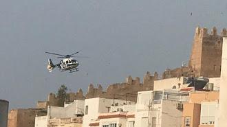 El helicóptero de la Policía Nacional sobrevuela la zona