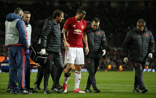 Manchester United's Zlatan Ibrahimovic receives medical attention after sustaining an injury. Picture credits: Reuters / Andrew Yates Livepic