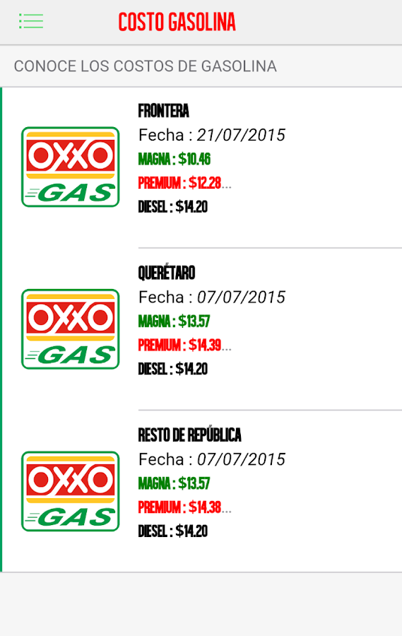 OXXO GAS: captura de pantalla