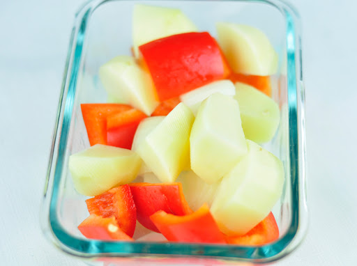 cubed veggies for grilling