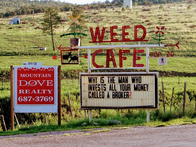 Welcome to Weed, New Mexico sign