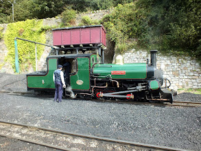 "Photo: 003 Here is Blanche, now back to how she should be and coal fired, resting by the water tank at Caernarfon. The Hunslet ""ladies"" really are handsome engines in lined green aren't they ?"