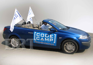 Photo: Уличные флаги, магнитная реклама для конференции CodeCamp (современные технологии разработки программного обеспечения)