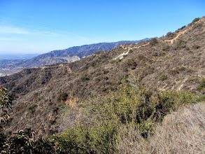 """Photo: View west from Garcia Trail toward Azusa's iconic """"A."""" Vulcan's Azusa Rock quarry at the mouth of Fish Canyon can be seen above the ridgeline."""