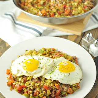 Brussels Sprouts, Sweet Potato, Bacon Hash - Paleo, Low Carb, Gluten Free.
