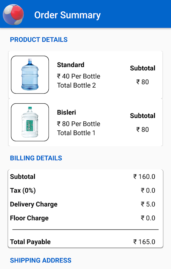 H2O ZONE , Ordering water just in few clicks- screenshot