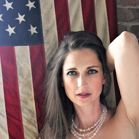 For the love of... by Marsha Grimm - People Portraits of Women ( long hair, beautiful, american flag, beauty,  )