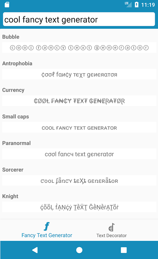Cool Fancy Text Generator- screenshot
