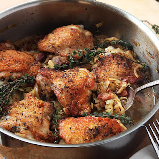 Crispy Braised Chicken Thighs With Cabbage and Bacon